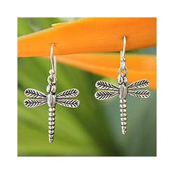Sterling Silver Dangle Earrings 'Mekong Dragonflies' (Thailand)