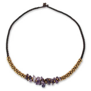 Handmade Amethyst Handmade 'Lilac Orchids' Beaded Necklace (Thailand)