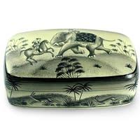 "Handmade Papier Mache 'Mughal Warriors' Box ' (India) - 6.75""x3.9"""