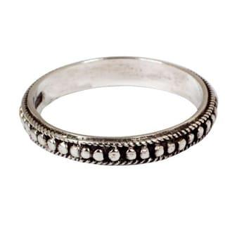Handmade Sterling Silver 'Circle of Stars' Band Ring (Thailand)