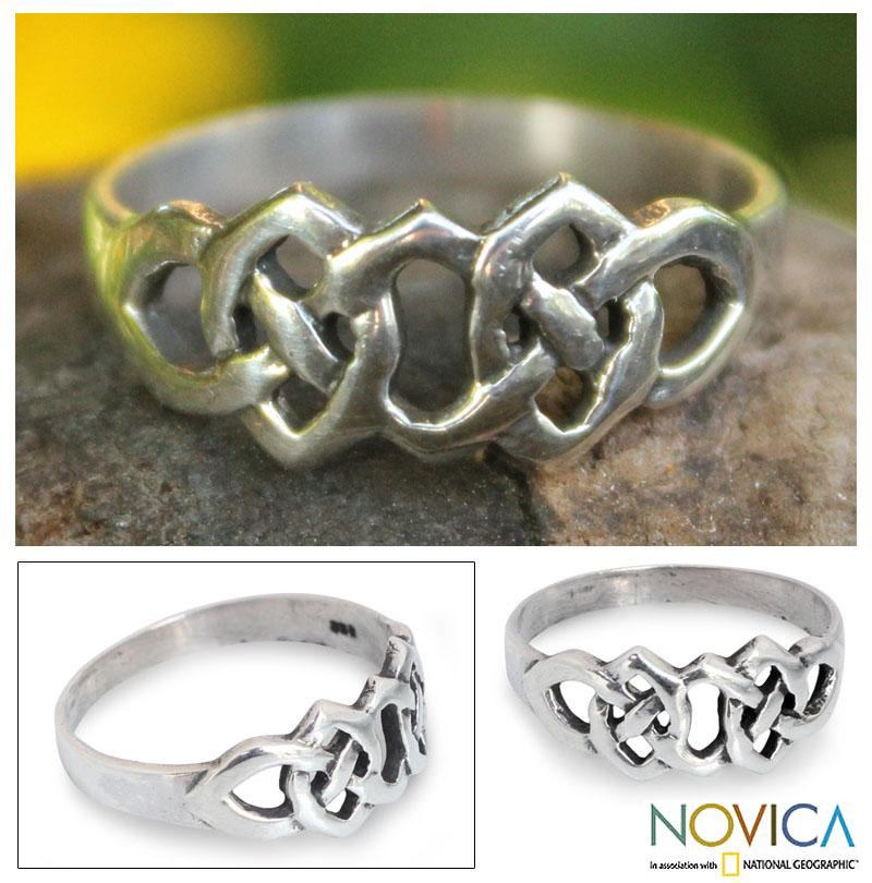 Handmade Sterling Silver 'Lover's Knot' Cocktail Ring(Thailand)