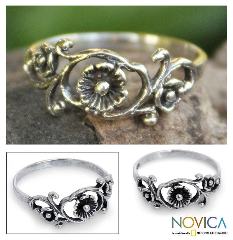 Sterling Silver 'Lotus Rose' Cocktail Ring (Thailand)
