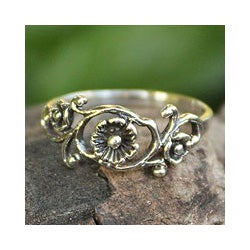 Handmade Sterling Silver 'Lotus Rose' Cocktail Ring (Thailand)