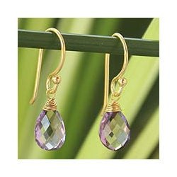 Gold Overlay 'Sublime Elegance' Amethyst Earrings (Thailand)