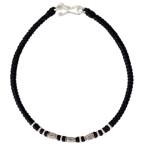 Handmade Waxed Polyester Cord Silver Accent Hill Tribe Smile Wristband Bracelet (Thailand)