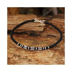 Handcrafted Waxed Polyester Cord Silver Accent Hill Tribe Smile Wristband Bracelet (Thailand)