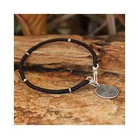 Handmade Sterling Silver Accent 'Spiral Sun' Charm Bracelet (Thailand)
