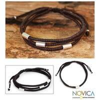 Handmade Silver Accent 'Hill Tribe Friend' Wristband Bracelet (Thailand)