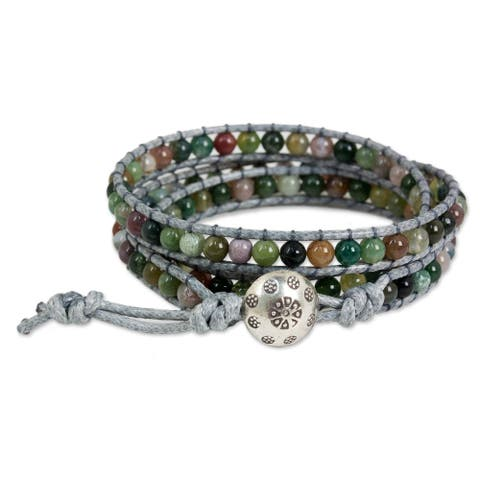 Handmade Jasper Wrap Bracelet 'Rainforest Majesty' (Thailand)