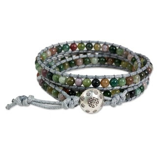 Handmade Jasper Wrap Bracelet 'Rainforest Majesty' (Thailand)