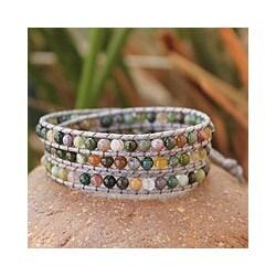 Jasper Wrap Bracelet 'Rainforest Majesty' (Thailand)