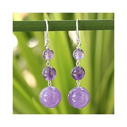 Handmade Sterling Silver 'Lilac Wisdom' Amethyst Earrings (Thailand)