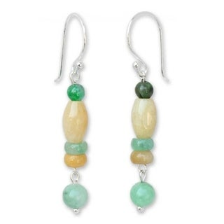 Handmade Sterling Silver 'Nature's Touch' Jade Earrings (Thailand)