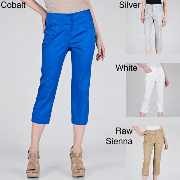Sharagano Women's Fashion Pocket Slim Leg Capri Pants - Free ...
