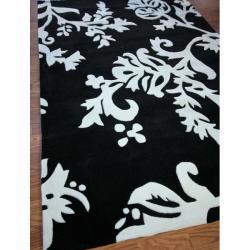 nuLOOM Handmade Pino Peonies Black Rug (8'3 x 11') - Thumbnail 1