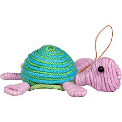Handcrafted Turquoise and Pink Turtle-shape Yarn Ornament (Colombia)