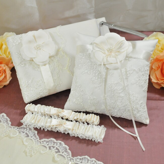 Vintage Lace Wedding Collection (Guest Book, Ring Pillow, and Garters)