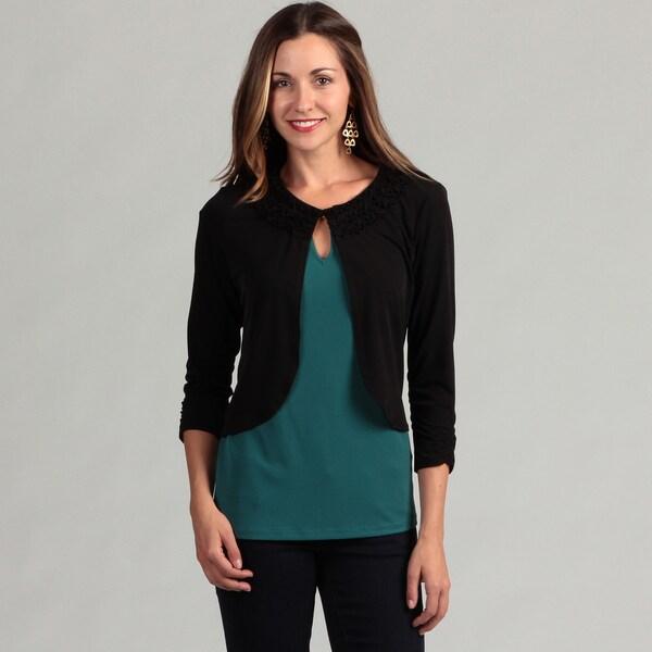 Glamour Women's Black Jersey Knit Shrug