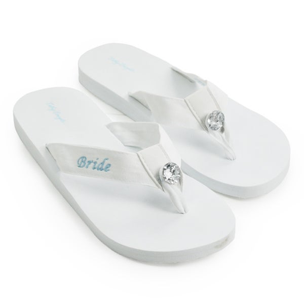 89ac68510dee4f Shop  Bride  White Wedding Flip-flops - Free Shipping On Orders Over  45 -  Overstock - 6590404