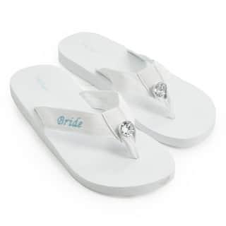 'Bride' White Wedding Flip-flops|https://ak1.ostkcdn.com/images/products/6590404/P14163261.jpg?impolicy=medium