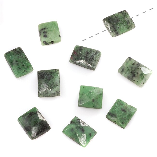 Beadaholique Zoisite Green Black Facet Rectangle Gem Bead 8-13mm (Set of 10)