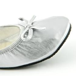 Fit In Clouds Women's Silver Patent Foldable Flats - Thumbnail 1