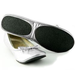 Fit In Clouds Women's Silver Patent Foldable Flats - Thumbnail 2
