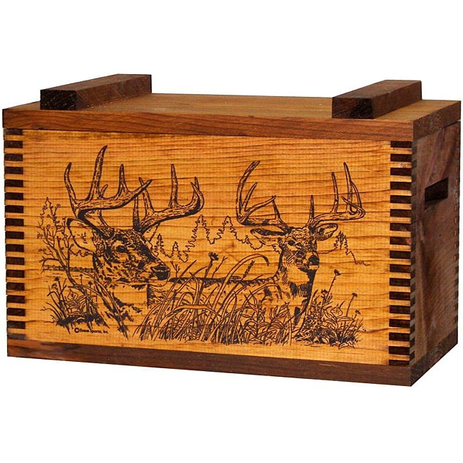Evans Sports, Inc. Whitetail Deer Print Wooden Gun Accessory/ Ammo Case