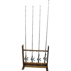 Wooden Standing Fishing Rod Rack