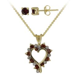 Glitzy Rocks Gold over Silver Garnet and Diamond Accent Jewelry Set