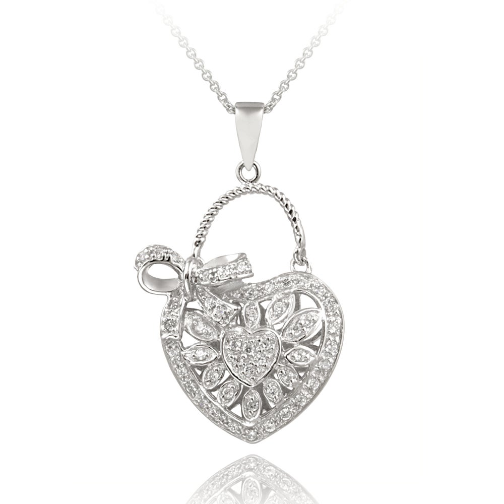 Icz Stonez Sterling Silver CZ Heart and Bow Necklace (1 1/6ct TGW)