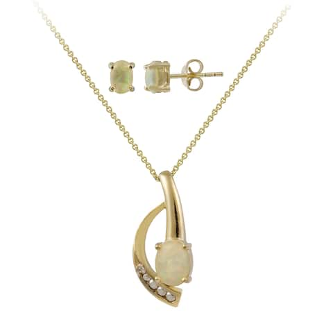 Glitzy Rocks Gold over Silver Created Opal and Diamond Accent Jewelry Set