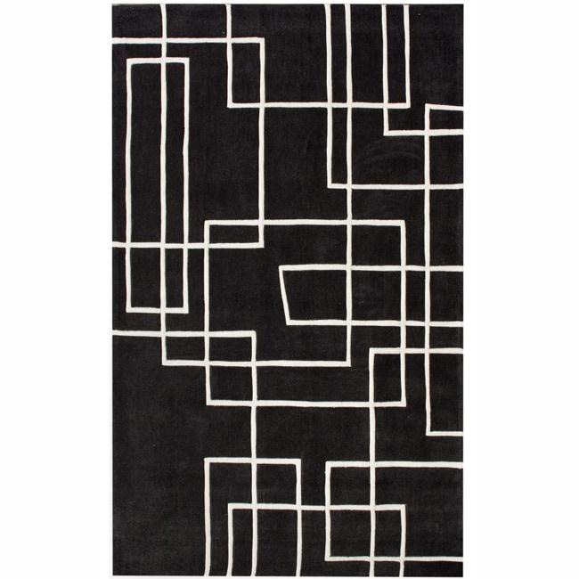 nuLOOM Handmade Pino Black Geometric Box Rug (8'3 x 11')
