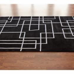 nuLOOM Handmade Pino Black Geometric Box Rug (8'3 x 11') - Thumbnail 1