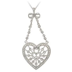DB Designs Silvertone Diamond Accent Station Heart Medallion Necklace