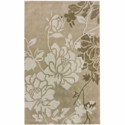 Handmade Alexa Pino Yarrow Floral Beige Rug (8'3 x 11')