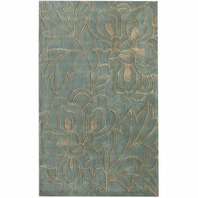 nuLOOM Handmade Pino Floral Blue/ Grey Rug (8'3 x 11')