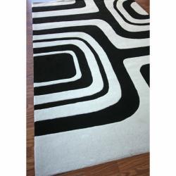 nuLOOM Handmade Pino Geometric Black Rug (8'3 x 11') - Thumbnail 1