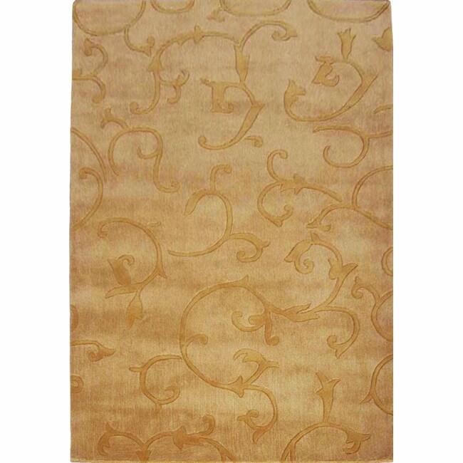 nuLOOM Handmade Pino Scroll Vines Gold Rug (6' x 9')
