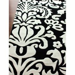 nuLOOM Handmade Pino Tribal Damask Black Rug (8'3 x 11') - Thumbnail 1