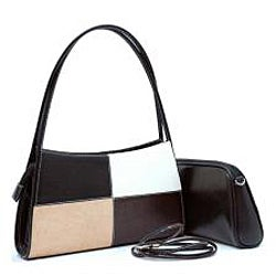 Dasein Classic Faux-Leather Two-in-One Shoulder Bag
