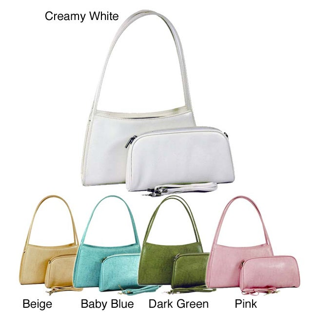 Dasein Classic Two-in-One Shoulder Bag with Coordinating Cosmetic Bag