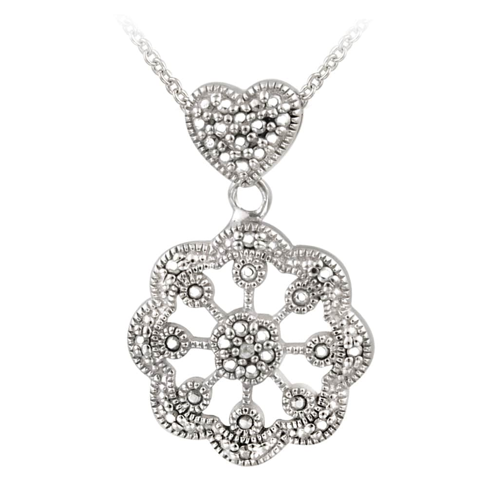 DB Designs Silvertone Diamond Accent Station Flower Medallion Necklace