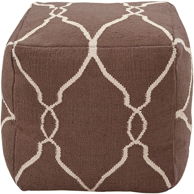 Decorative Arabesque Brown Pouf - Thumbnail 0