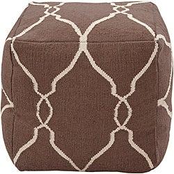 Decorative Arabesque Brown Pouf - Thumbnail 0