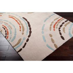 Hand-tufted Contemporary Beige Lopori Geometric Circles Rug (5' x 7'6)