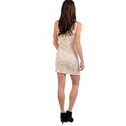 Stanzino Women's Cream Beaded Textured One-shoulder Dress