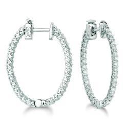 14k White Gold 1 1/3ct TDW Diamond Hoop Earrings (H-I, I1-I2)