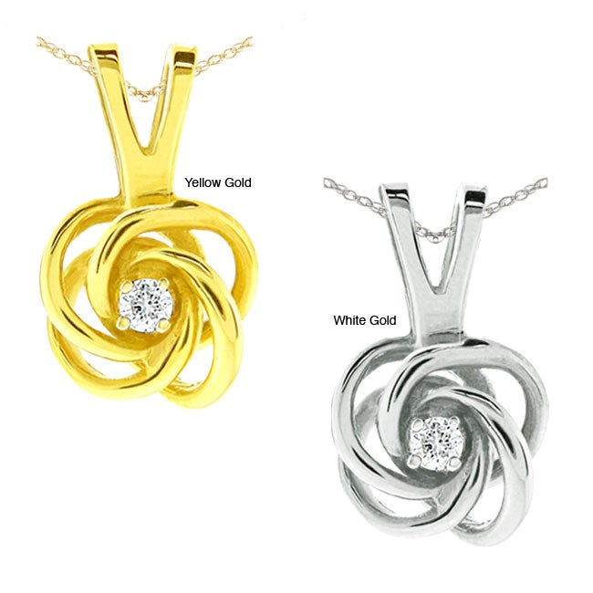 10k Gold Diamond Accent Love Knot Necklace