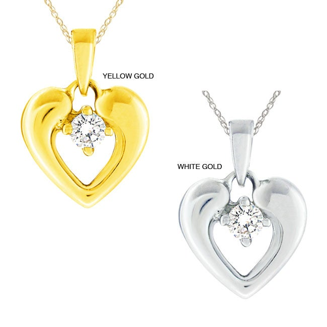 10k Gold 1/10ct TDW Diamond Heart Necklace (G-H, SI1-SI2)